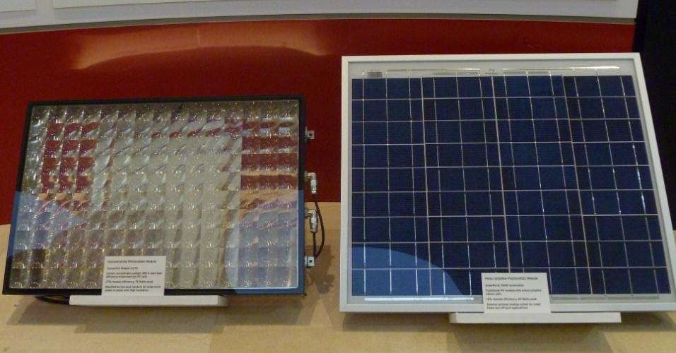 A pesquisa em energia solar é uma das mais fortes no Qatar, país em que as temperaturas médias ultrapassam os 50ºC no verão. Neste exemplo, a placa da esquerda, de vidro tem um custo de 2 dólares por watt, já a da direita custa 0,8 dolar