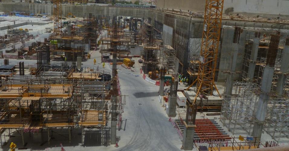Bairro de Msheireb está em plena construção. Primeira etapa deve ser entregue até o final do ano e conta com prédios públicos