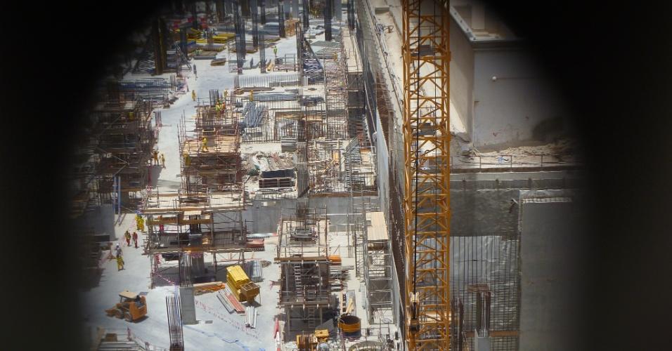 Detalhe das obras da revitalização do bairro central de Doha em um bairro sustentável