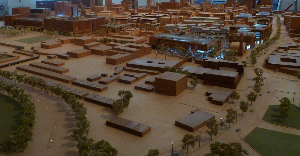 Maquete da revitalização do centro de Doha, capital do Qatar, O projeto de tornar o bairro sustentável custará 5,5 bilhões de dólares e ficará pronto em 2030