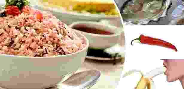 montagem arroz com romã, ostras, pimenta, banana - Arte UOL