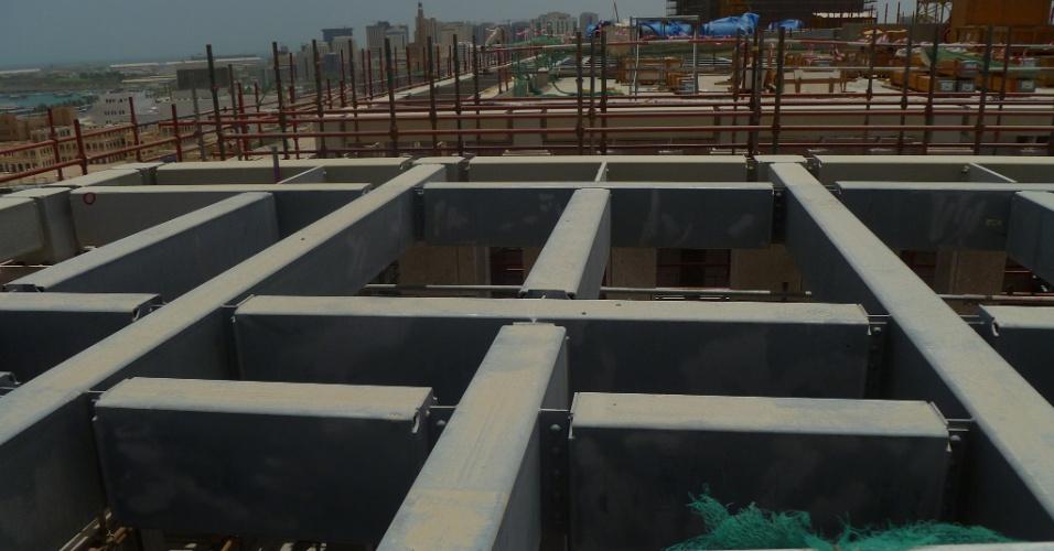 Msheireb,Detalhe da estrutura do prédio que será sede do governo no bairro
