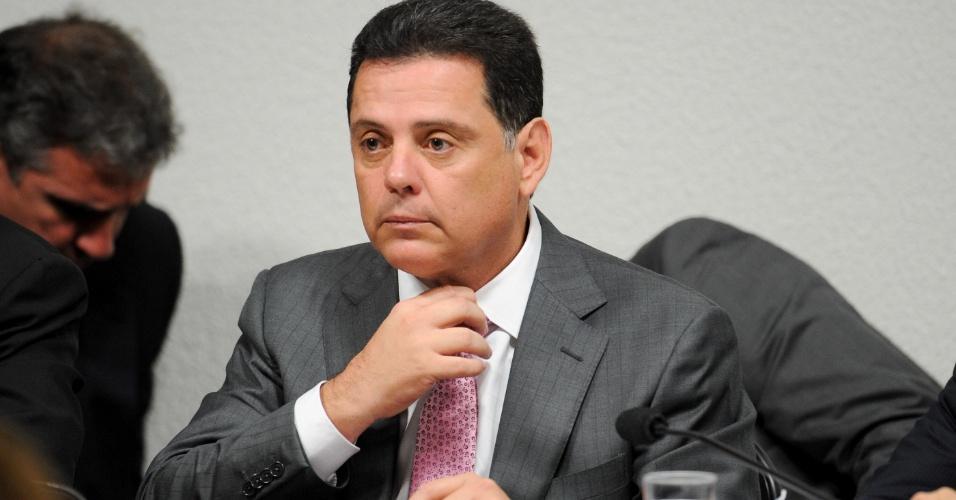 12.jun.2012 - O governador de Goiás, Marconi Perillo (PSDB), depõe na CPI do Cachoeira, em Brasília, nesta terça-feira