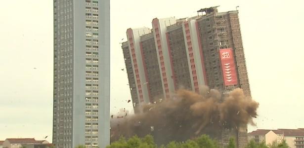 Conjunto residencial que já foi o mais alto da Europa é demolido em Glasgow, Escócia - Reprodução/ BBC