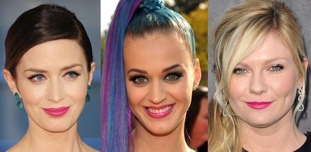 Emily Blunt, Katy Perry e Kirsten Dunst antecipam a tendência da boca pink - Getty Images / Montagem