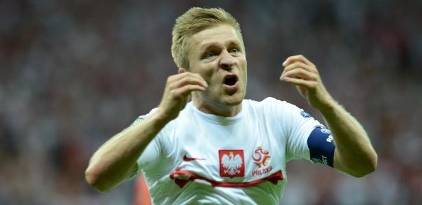 Polonês Jakub Blaszczykowski comemora gol marcado contra a Rússia pela Eurocopa em Varsóvia