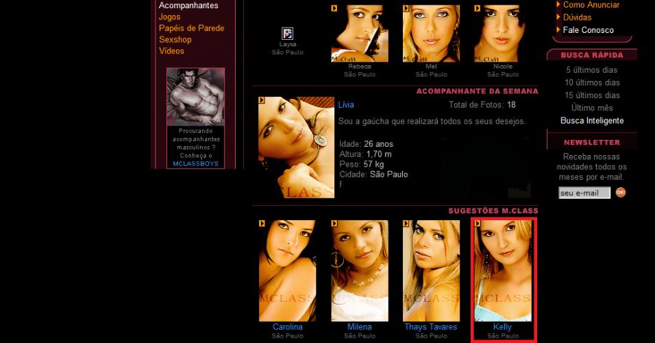13.jun.2012 - Imagem do site de acompanhantes onde a mulher do executivo da Yoki tinha perfil