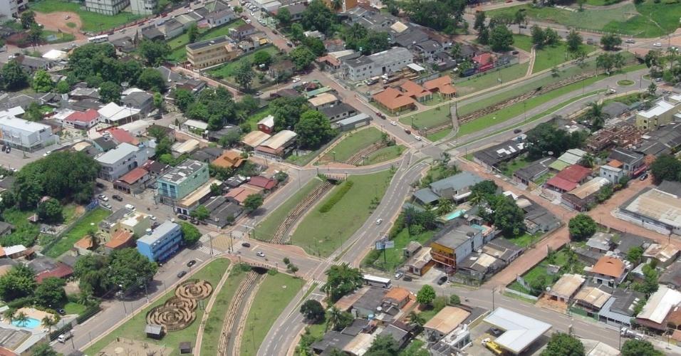 Vista aérea do parque da maternidade, em Rio Branco (AC)