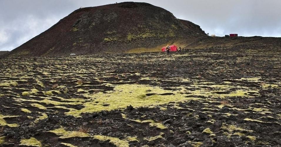 15.jun.2012 - Imagem do lado de fora do vulcão islandês Thrihnukagigur