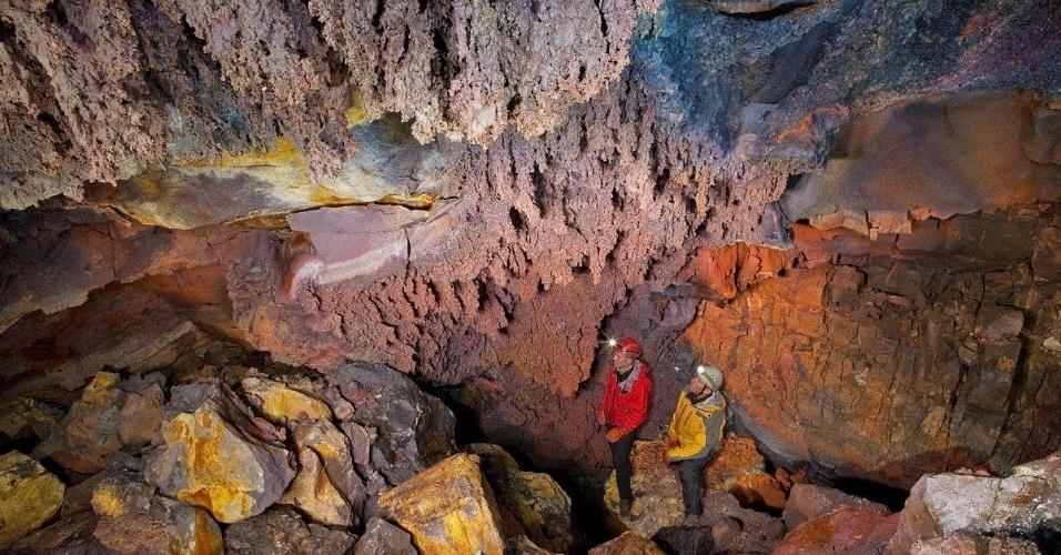 15.jun.2012 - Imagem interna do vulcão islandês Thrihnukagigur