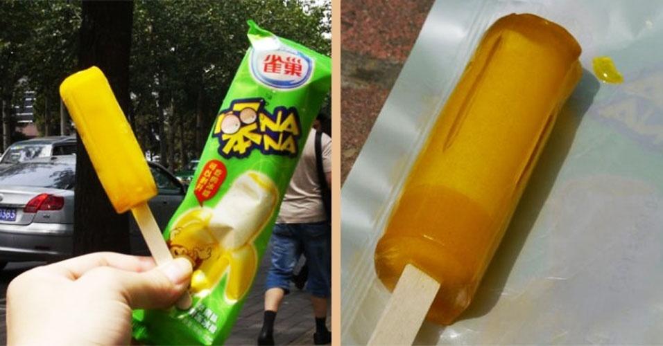 """15.jun.2012 - Uma antiga lenda dizia que na China tem um picolé que não derrete. Pois não é que a lenda se tornou real? O picolé é da Nestlé, se chama """"Banana"""" e (claro!) é de sabor banana. Infelizmente é só comercializado na China mesmo. Se der uma passada por lá, prove! Com  certeza você não irá se sujar"""