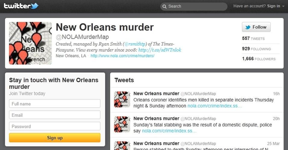 27.mar.2012 - Assassinatos que ocorrem na cidade americana de Nova Orleans, na Louisiana, ganham perfil no Twitter e mapa interativo