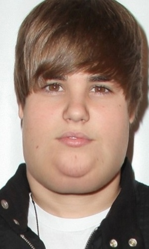 Engordar - Para brincar com a imagem das celebridades, alguns sites tratam de mostrar como elas seriam caso ganhasse um peso extra. Na foto, o ator Justin Bieber
