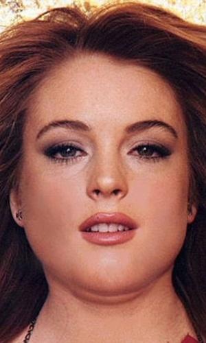 Engordar - Para brincar com a imagem das celebridades, alguns sites tratam de mostrar como elas seriam caso ganhasse um peso extra. Na Imagem, a atriz Lindsay Lohan