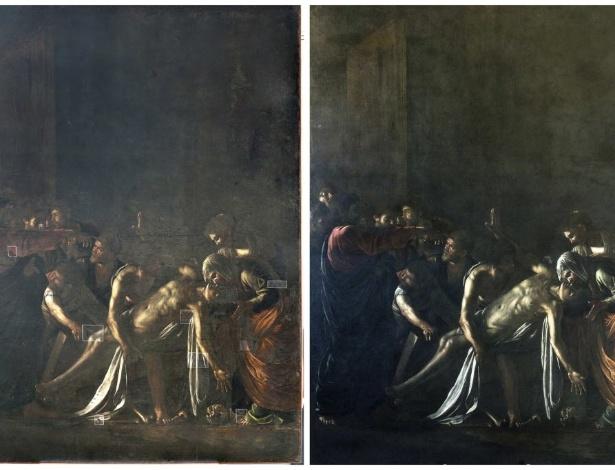 """Obra de Caravaggio, """"A Ressurreição de Lázaro"""", antes e depois da restauração - REUTERS/Handout"""