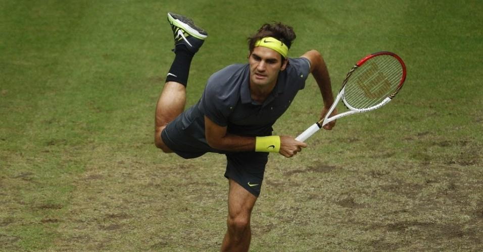 O saque foi uma das principais armas de Federer na vitória contra o russo Mikhail Youzhny