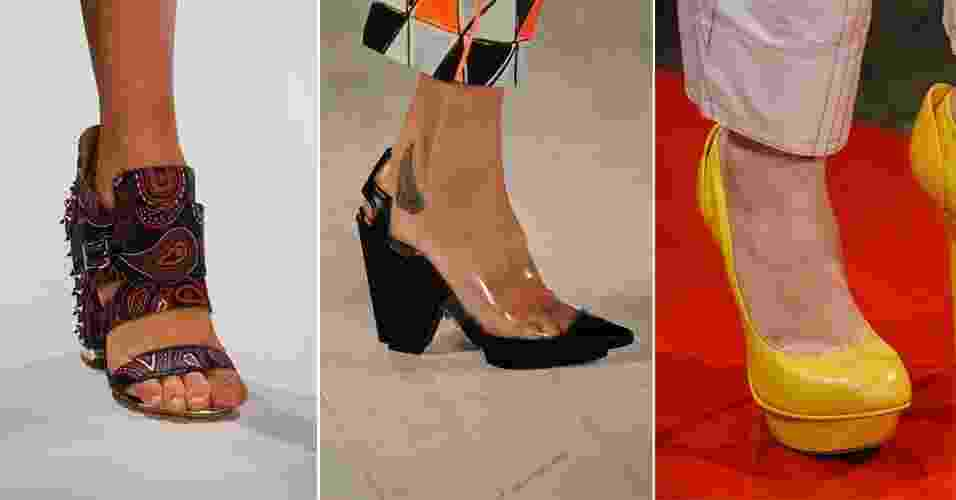 """Além de ditar o que é tendência em cor, modelagem e estampa, as passarelas também mostram o que será usado nos pés na próxima estação. Com o fim da edição de Verão 2013 do SPFW, o UOL selecionou os principais sapatos desfilados e mostra o que vai """"pegar"""" daqui seis meses - Agência Fotosite"""