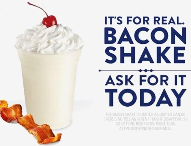 19.jun.2012 - Depois que o sundae de bacon veio à tona, o UOL Tabloide descobriu que a rede de fast food norte-americana Jack in the Box - que tem 2.100 lojas em 19 Estados dos EUA - adicionou o milk-shake de bacon há poucos meses em seu cardápio - Reprodução