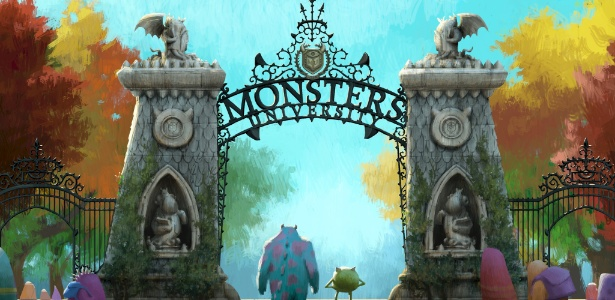"""Arte conceitual da animação """"Universidade Monstros"""", da Disney Pixar"""