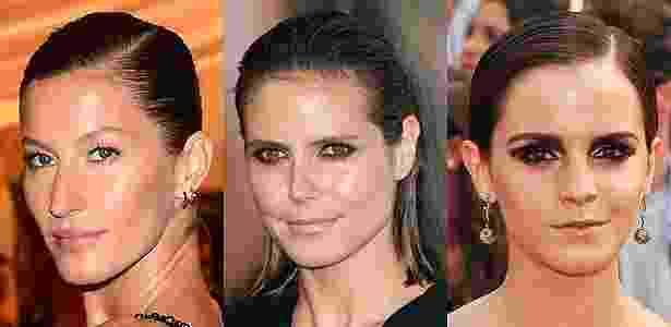 """As tops Gisele Bündchen e Heidi Klum e a atriz Emma Watson já usaram o """"wet look"""" em tapetes vermelhos - Getty Images"""