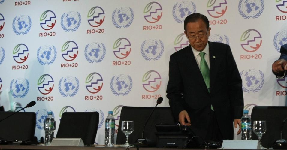 20.jun.2012 - O secretário-geral da ONU concede entrevista coletiva na Rio+20, Conferência da ONU sobre o Dsenvolvimento Sustentável