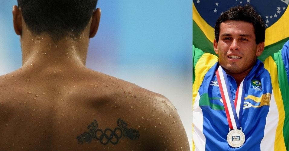 Cassius Duran, um dos grandes nomes do Brasil nos saltos ornamentais na última década, tatuou um símbolo olímpico estilizado