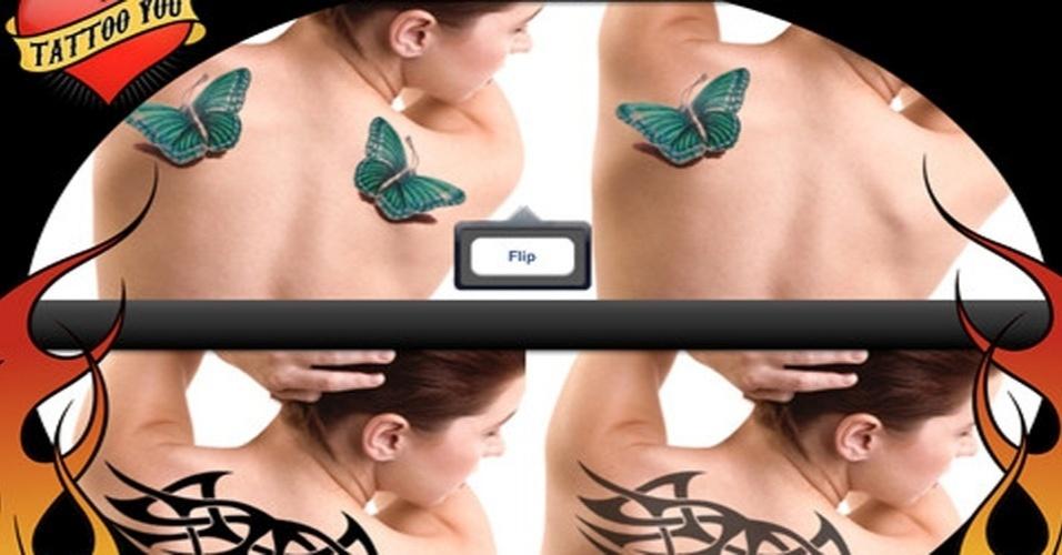 Escolha uma parte do seu corpo e saiba antecipadamente como a tatuagem ficará