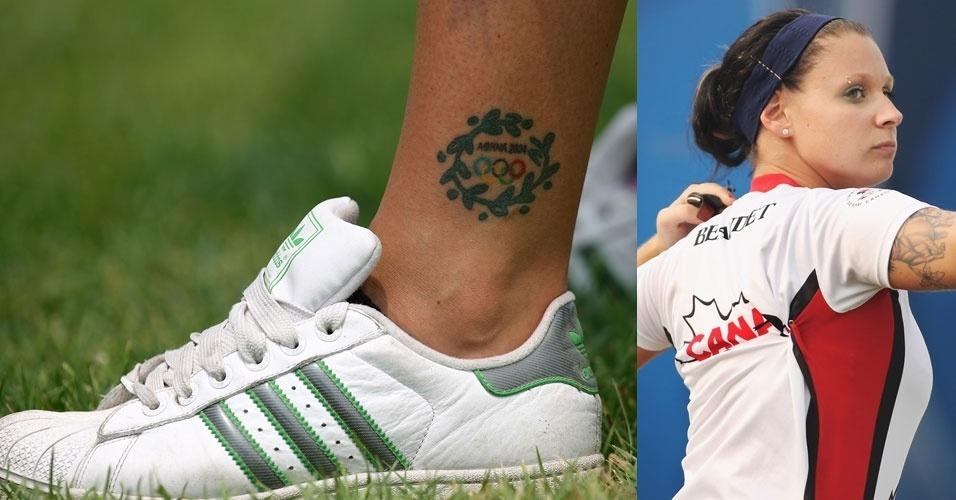Estilosa, a canadense Marie-Pier Beaudet leva um piercing na sobrancelha e uma tatuagem olímpica no tornozelo