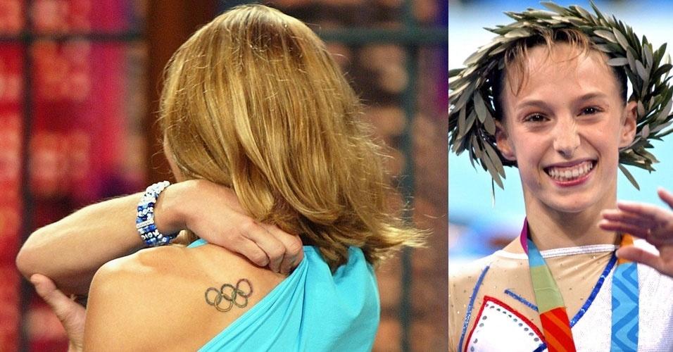 Terin Humphrey, ginasta norte-americana que competiu nos Jogos Olímpicos de Atenas, em 2004, exibe sua tatuagem em uma programa de TV nos EUA
