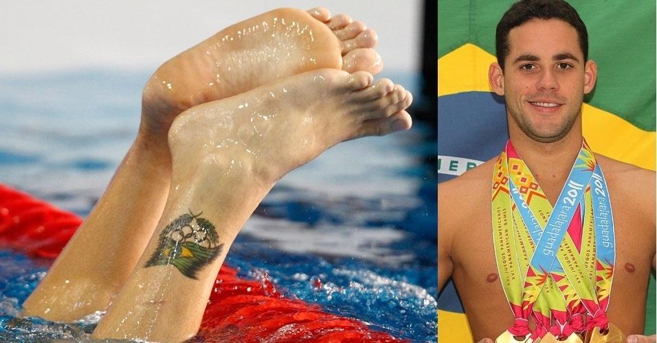 Thiago Pereira, conhecido por seu ótimo histórico em Pans, já foi à Olimpíada de Pequim e registrou a experiência em seu pé esquerdo