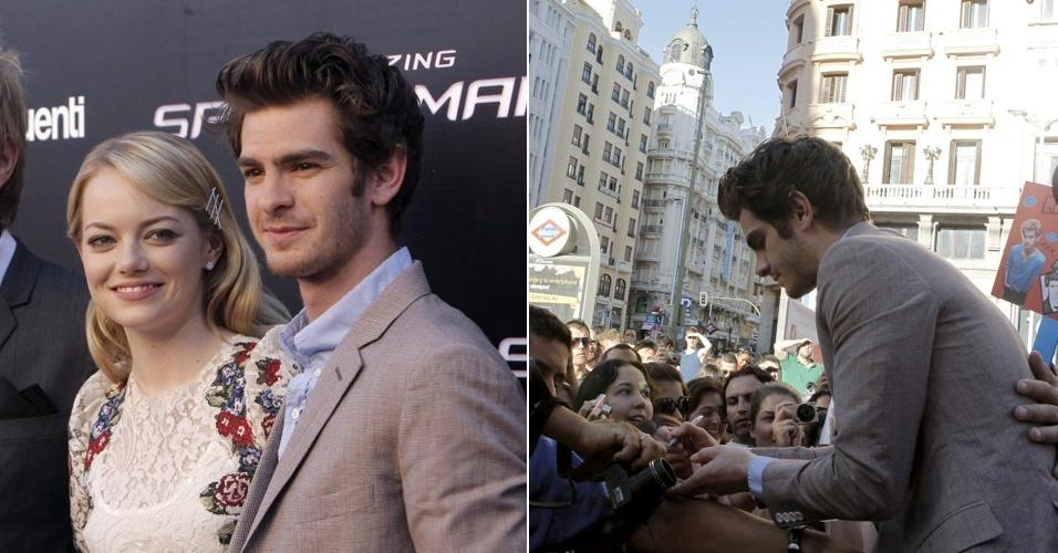 """Emma Stone e Andrew Garfield na estreia de """"O Espetacular Homem-Aranha"""", em Madri, Espanha (21/6/12). O novo Peter Parker aproveitou para distribuir autógrafos aos fãs"""