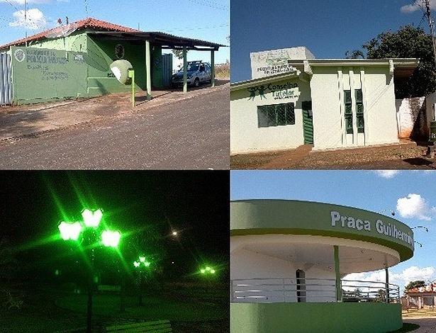 Prédios públicos e iluminação ficam verdes em Palestina de Goiás, mesma cor do PSC, partido do prefeito