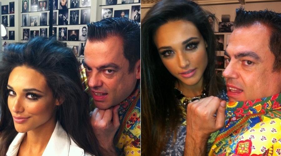 O cabeleireiroMarco Antônio de Biaggi divulgou imagens dos bastidores do ensaio fotográfico da atriz Débora Nascimento (22/6/12)