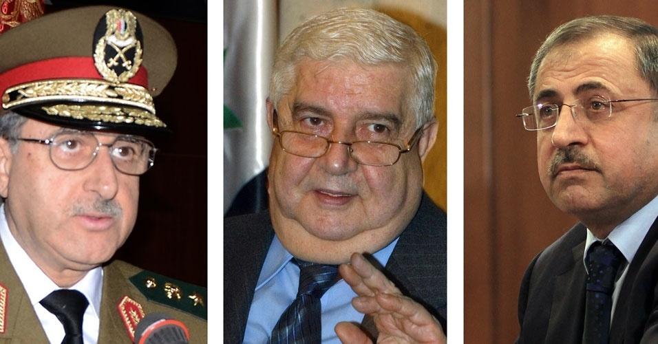 23.jun.2012 - Montagem mostra, da esquerda para a direita: Daoud Rajha, ministro sírio da Defesa; Walid Muallem, chanceler sírio; e Ibrahim Shaar, ministro sírio do Interior