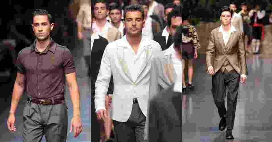 A Dolce & Gabbana também desfilou em Milão sua linha de moda para o próximo verão europeu, com a mesta paleta de cores sóbrias de sua coleção de praia (23/06/2012) - Vittorio Zunino Celotto/Getty