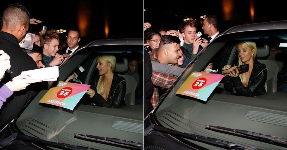 Paris Hilton dá autógrafos para os fãs em São Paulo. A socialite, que é atriz e cantora, é uma das atrações do Pop Music Festival que acontece neste sábado em São Paulo (23/6/12)