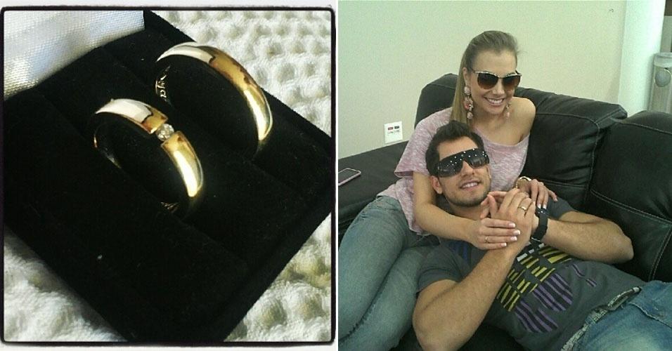 """O ex-BBB Eliéser pediu a mão da namorada, a modelo Osyanne Pilecco, no casamento de seu empresário em Araraquara, interior de São Paulo. O modelo publicou uma foto das alianças em sua conta no Twitter e uma foto com Osyanne já com o anel no dedo. """"Enfim Noivo! Estou muito Feliz :)"""", escreveu"""