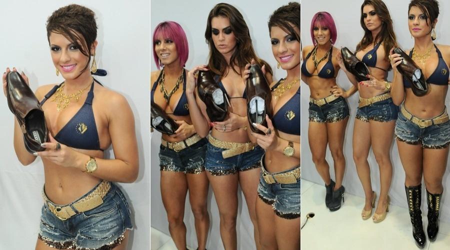 As panicats Babi Rossi, Thais Bianca (de cabelo rosa) e Renata Molinaro estiveram na 44ª Feira Internacional da Moda em Calçados e Acessórios (26/6/12)