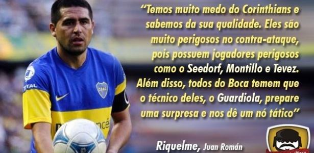 Corneta FC: Riquelme diz que Boca tem medo do Corinthians