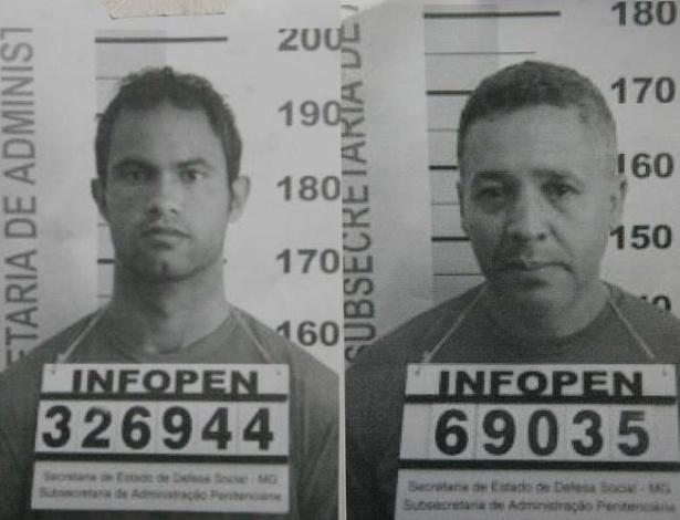 Montagem mostra o goleiro Bruno Souza (à esquerda) e o ex-policial Marcos Aparecido dos Santos fichados pela Polícia Civil de Minas Gerais. Os dois são suspeitos pela morte ex-namorada de Bruno, Eliza Samudio