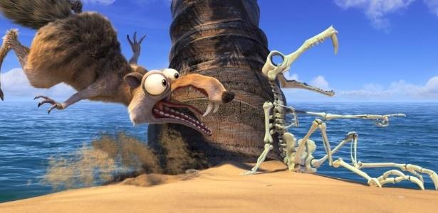 O desastrado esquilo Scrat continua a perseguir nozes em um mundo em degelo - Divulgação