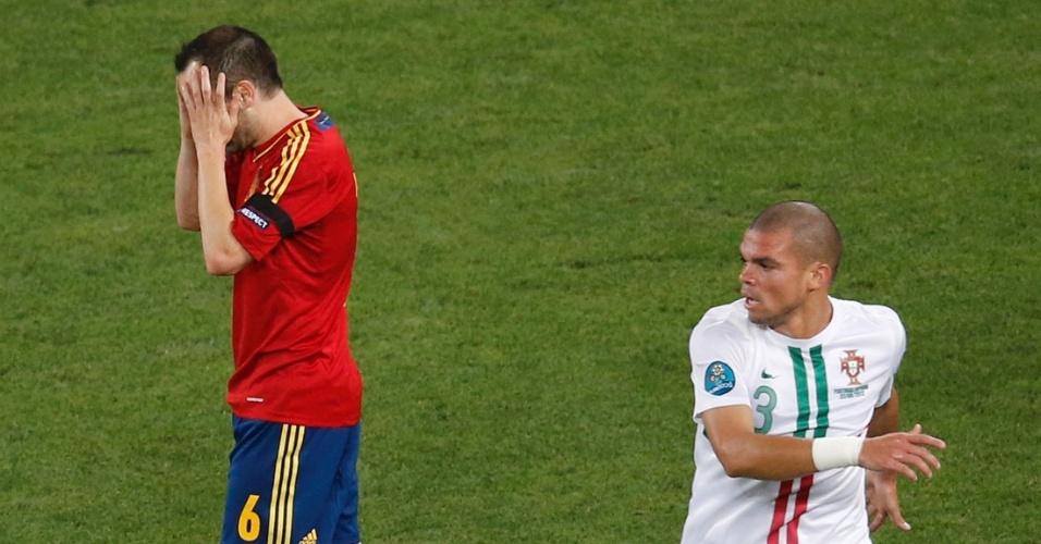 Duelo Barcelona x Real Madrid esteve presente na semi da Euro: Xavi, do Barça, lamenta oportunidade contra Portugal, do brasileiro naturalizado Pepe, que atua pelo Real