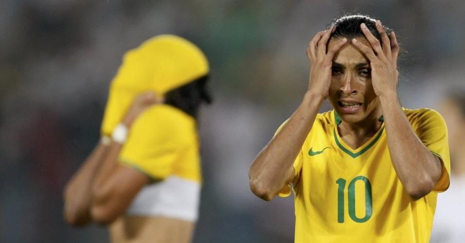 Marta demonstra desânimo após derrota para os EUA em que Brasil foi muito melhor