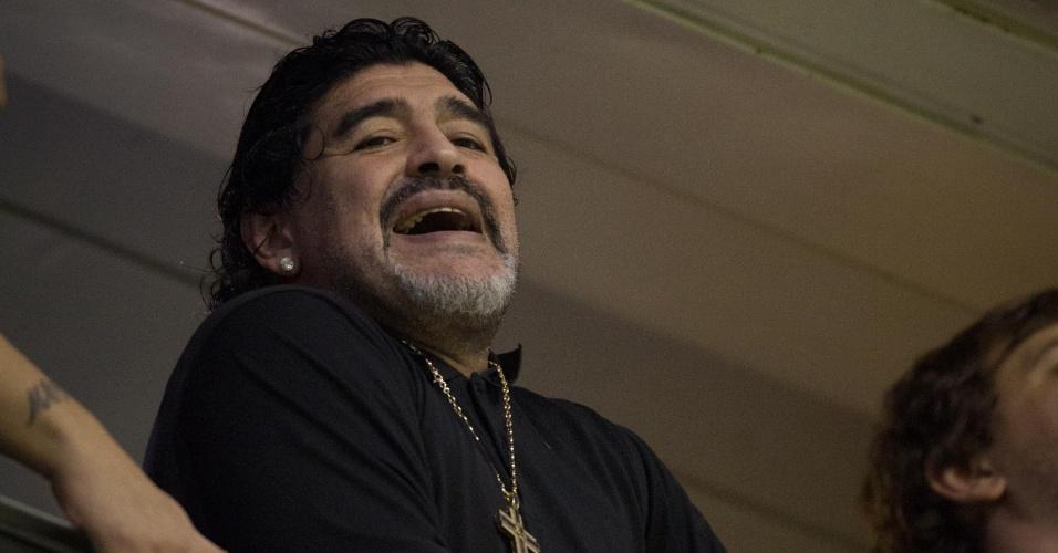 Nos camarotes de La Bombonera, Diego Maradona acompanha final da Libertadores