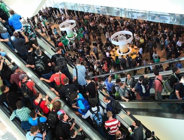 O Moscone Center, onde é realizado o Google I/O, conferência anual de desenvolvedores da empresa, fica lotado durante o primeiro dia do evento