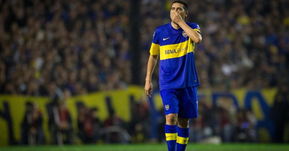 Riquelme lamenta erro cometido durante a final da Libertadores entre Boca Juniors e Corinthians