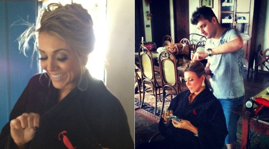 A ex-BBB Fabiana divulgou imagens dos bastidores do seu ensaio para a revista