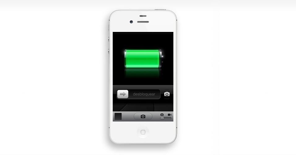 Acessar a câmera na tela de início. Em vez de desbloquear o telefone e acessar o aplicativo Câmera, você pode já na tela de início abri-lo. Basta apertar o botão Home (aquele central no iPhone) e depois apoiar o dedo no ícone de foto, arrastando para cima