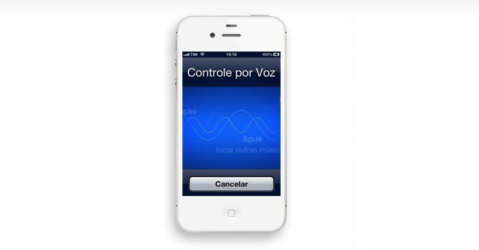 Acessar controle por voz ou Siri no botão Home. Usuários do iPhone 4S podem acessar o assistente comandado por voz, Siri, apoiando por alguns segundos o dedo no botão Home. Quem usa o iPhone 4 também acessa pelo atalho o controle de voz ? com ele, por exemplo, você fala ?Ligar para casa? e efetua a ligação