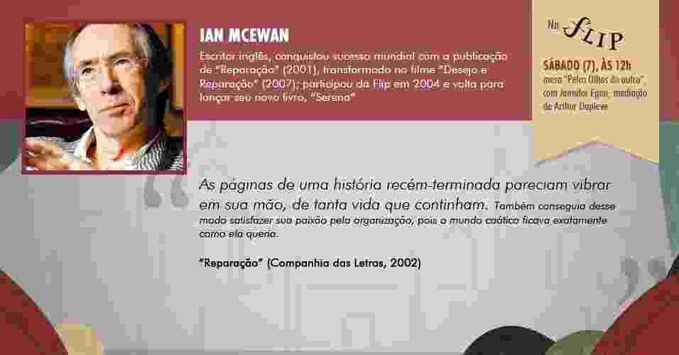 """""""As páginas de uma história recém-terminada pareciam vibrar em sua mão, de tanta vida que continham. Também conseguia desse modo satisfazer sua paixão pela organização, pois o mundo caótico ficava exatamente como ela queria."""" - """"Reparação"""", de Ian McEwan (Companhia das Letras, 2002) - Arte/UOL"""